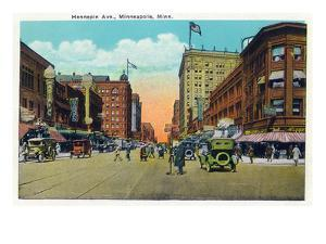 Minneapolis, Minnesota - View Down Hennepin Avenue by Lantern Press