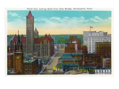 Minneapolis, Minnesota - Western View from New Bridge of Third Avenue by Lantern Press