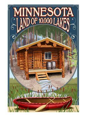 Minnesota - Cabin and Lake by Lantern Press