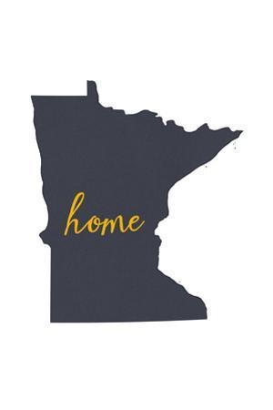Minnesota - Home State - Gray on White by Lantern Press