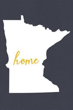 Minnesota - Home State - White on Gray by Lantern Press
