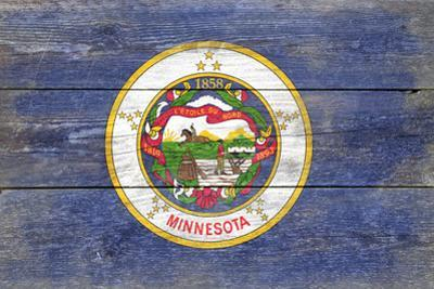 Minnesota State Flag - Barnwood Painting by Lantern Press