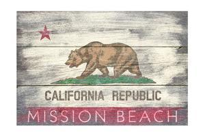 Mission Beach, California - Barnwood State Flag by Lantern Press