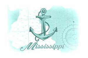 Mississippi - Anchor - Teal - Coastal Icon by Lantern Press