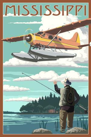 Mississippi - Float Plane and Fisherman by Lantern Press
