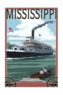 Mississippi - Riverboat and Rowboat by Lantern Press