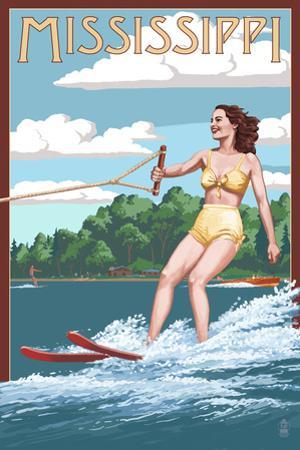 Mississippi - Water Skier and Lake by Lantern Press