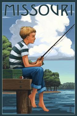 Missouri - Boy Fishing by Lantern Press