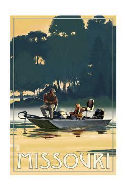Missouri - Fishermen in Boat by Lantern Press