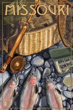 Missouri - Fishing Still Life by Lantern Press