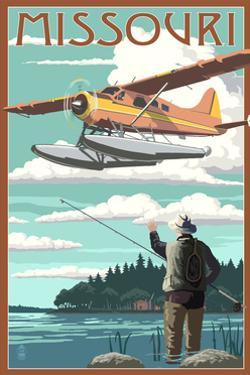 Missouri - Float Plane and Fisherman by Lantern Press