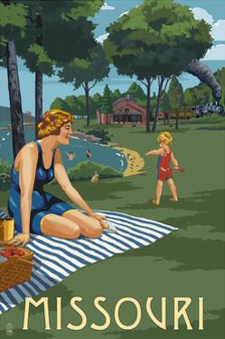 Missouri - Lake and Picnic Scene by Lantern Press