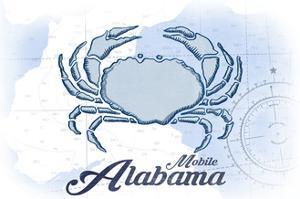 Mobile, Alabama - Crab - Blue - Coastal Icon by Lantern Press
