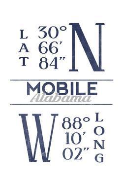 Mobile, Alabama - Latitude and Longitude (Blue) by Lantern Press