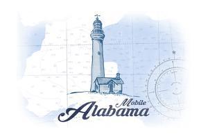 Mobile, Alabama - Lighthouse - Blue - Coastal Icon by Lantern Press