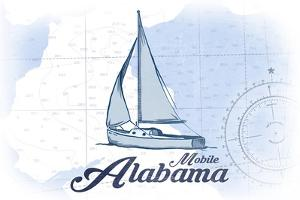 Mobile, Alabama - Sailboat - Blue - Coastal Icon by Lantern Press