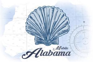 Mobile, Alabama - Scallop Shell - Blue - Coastal Icon by Lantern Press