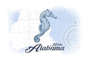 Mobile, Alabama - Seahorse - Blue - Coastal Icon by Lantern Press