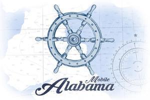 Mobile, Alabama - Ship Wheel - Blue - Coastal Icon by Lantern Press
