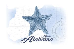 Mobile, Alabama - Starfish - Blue - Coastal Icon by Lantern Press