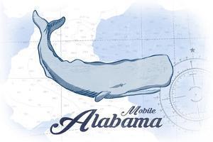 Mobile, Alabama - Whale - Blue - Coastal Icon by Lantern Press