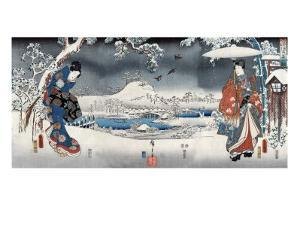 Modern Version of the Tale of Genji in Snow Scenes, Japanese Wood-Cut Print by Lantern Press