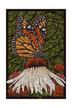 Monarch Butterfly - Paper Mosaic - Green Background by Lantern Press
