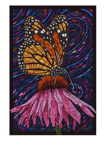 Monarch Butterfly - Paper Mosaic by Lantern Press