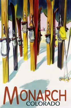 Monarch, Colorado - Colorful Skis by Lantern Press