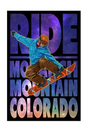 Monarch Mountain, Colorado - Milky Way Snowboarder by Lantern Press