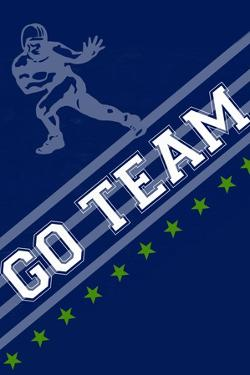 Monogram - Game Day - Blue and Green - Go Team by Lantern Press