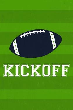 Monogram - Game Day - Blue and Green - Kickoff by Lantern Press
