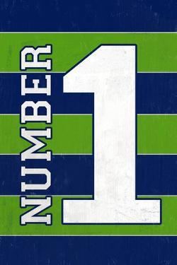 Monogram - Game Day - Blue and Green - Number 1 by Lantern Press