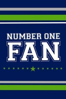 Monogram - Game Day - Blue and Green - Number One Fan by Lantern Press