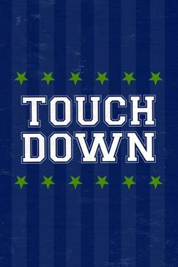 Monogram - Game Day - Blue and Green - Touchdown by Lantern Press