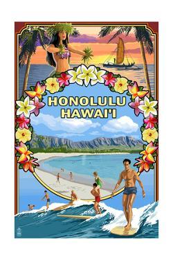 Montage - Honolulu, Hawaii by Lantern Press