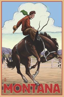 Montana - Cowboy and Bronco Scene by Lantern Press