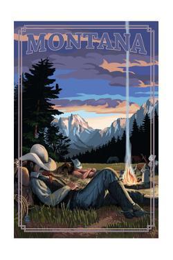 Montana - Cowboy Camping Night Scene by Lantern Press
