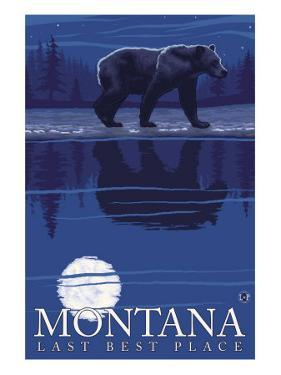 Montana, Last Best Place, Bear at Night by Lantern Press