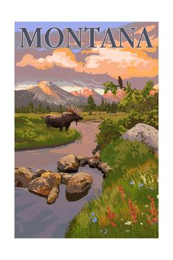 Montana - Moose and Meadow by Lantern Press