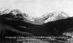 Montana - Timbered Basin View of Taylor's Fork and Peak by Lantern Press