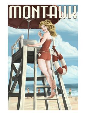 Montauk, New York - Pinup Girl Lifeguard by Lantern Press