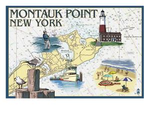 Montauk Point, New York - Nautical Chart by Lantern Press