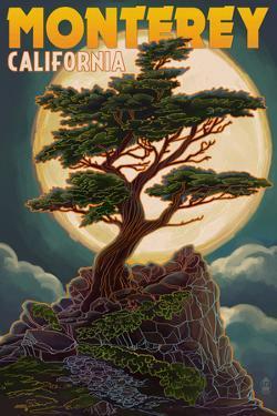 Monterey, California - Cypress and Full Moon by Lantern Press
