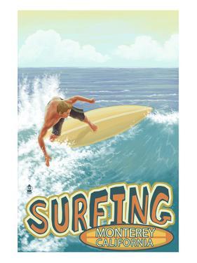 Monterey, California - Surfer Scene by Lantern Press