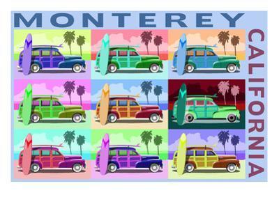 Monterey, California - Woodies Pop Art by Lantern Press