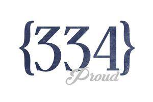 Montgomery, Alabama - 334 Area Code (Blue) by Lantern Press