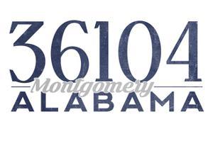 Montgomery, Alabama - 36104 Zip Code (Blue) by Lantern Press