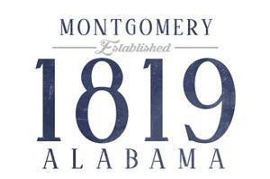 Montgomery, Alabama - Established Date (Blue) by Lantern Press