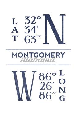 Montgomery, Alabama - Latitude and Longitude (Blue) by Lantern Press